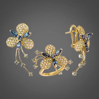кольцо с топазами из золота